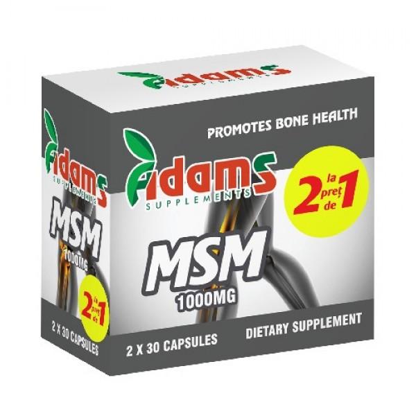 MSM 1000mg Adams Supplements (pachet 1+1 gratis) - 2 x 30 capsule