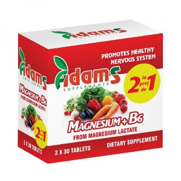 Magneziu+B6 Adams Supplements (Pachet 1+1 gratis) - 2 x 30 capsule