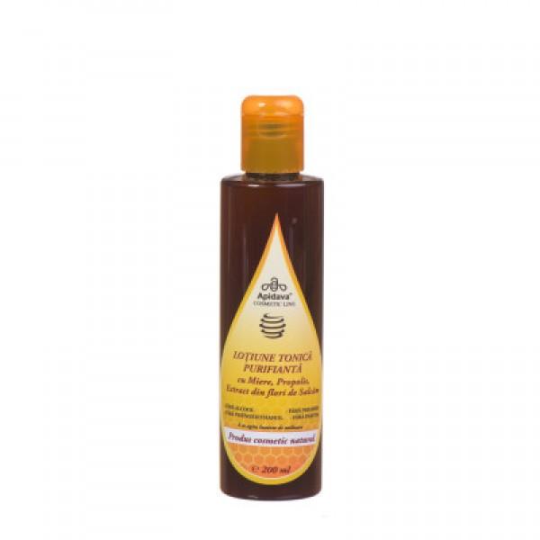 Lotiune tonica purifianta cu miere, propolis si extract din flori de salcam Apidava - 200 ml