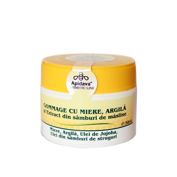 Gommage cu miere, argila si ulei din samburi de masline Apidava - 50 ml