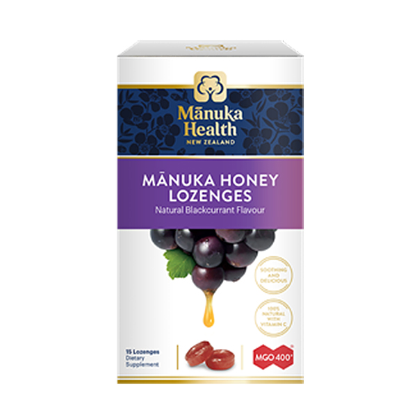 Bomboane Manuka MGO (400+) cu coacaze Manuka Health - 65 g