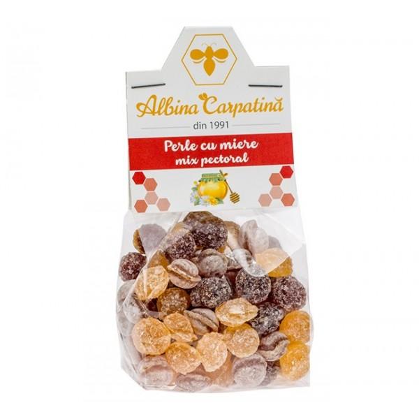 Perle cu miere mix pectoral (propolis, pin si eucalipt) Albina Carpatina - 100 g
