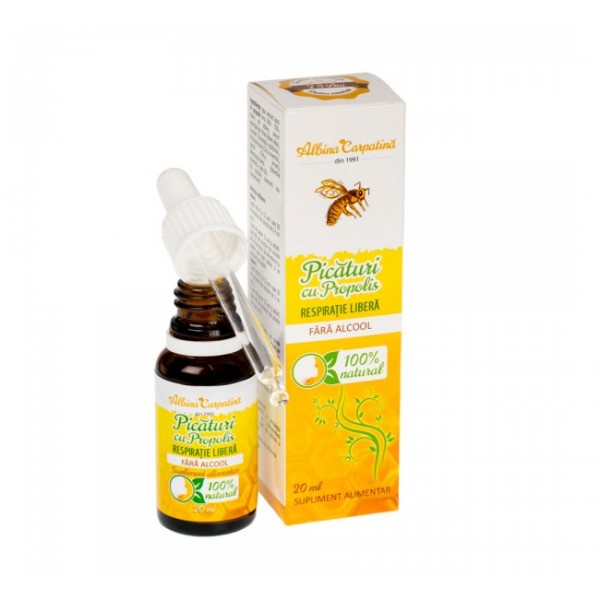 Picaturi cu propolis - respiratie libera (fara alcool) Albina Carpatina - 20 ml