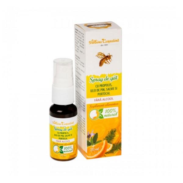 Spray de gat cu propolis, ulei pin, salvie si portocale (fara alcool) APITERRA - 20 ml