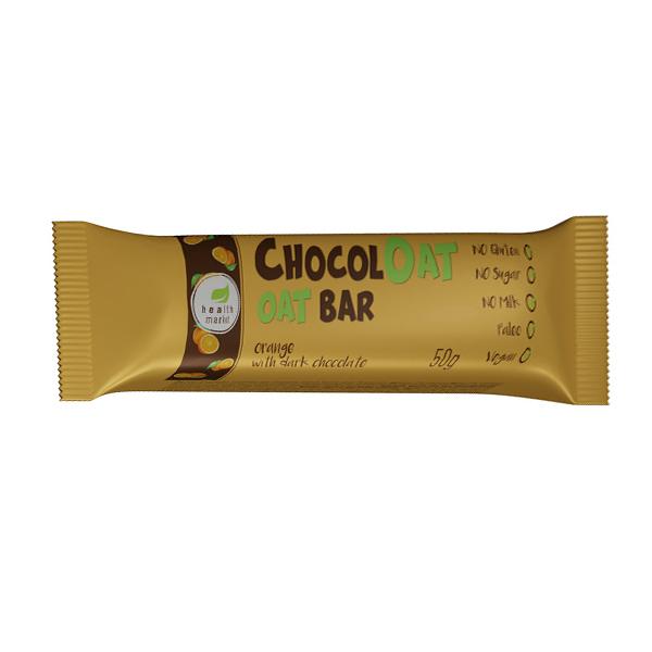 Baton ovaz ciocolata neagra cu gust de portocale (fara gluten, fara zahar) Free Bakery - 50 g