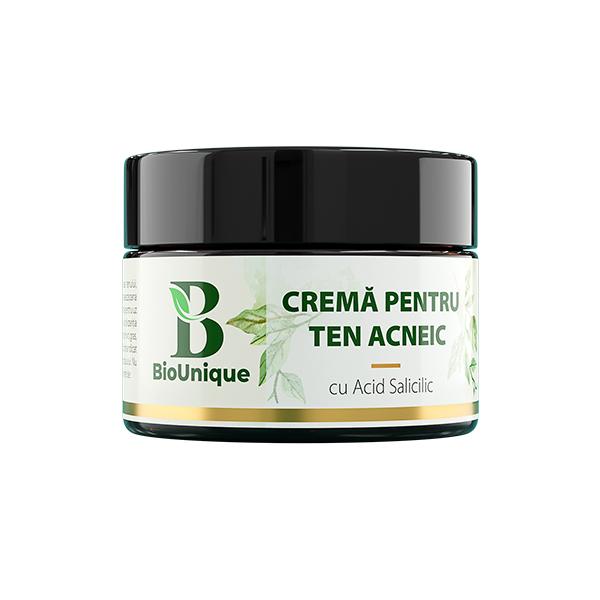 Crema pentru ten acneic cu acid salicilic, ulei de neem si BHA BioUnique - 50 ml