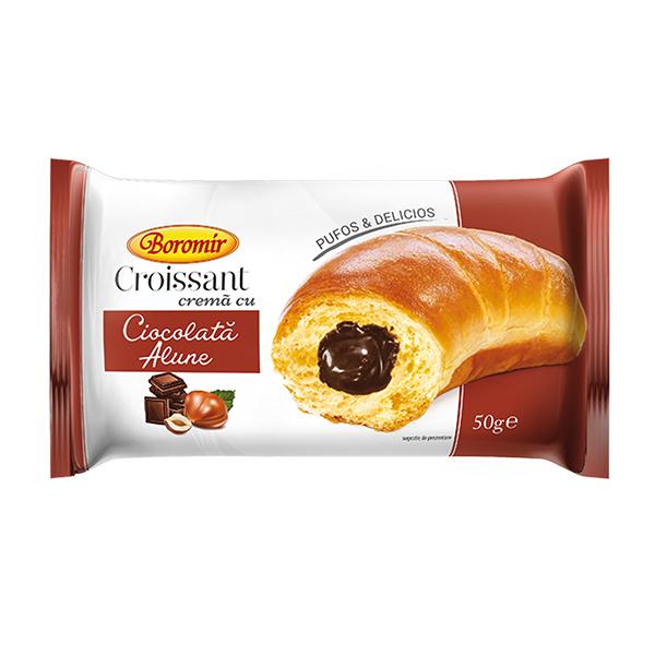 Croissant crema ciocolata cu alune Boromir - 50 g