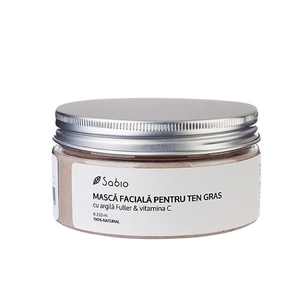Masca faciala cu argila fuller & vitamina C (ten gras, mixt, acneic) Sabio Cosmetics - 250 ml