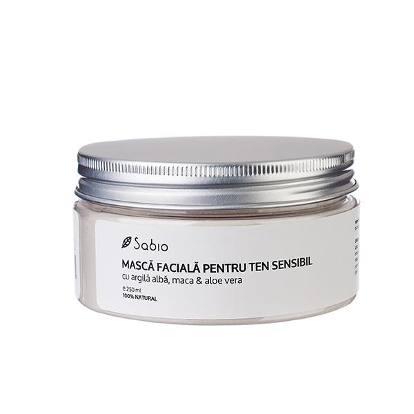 Masca faciala cu argila alba, maca & aloe vera (ten sensibil) Sabio Cosmetics - 250 ml