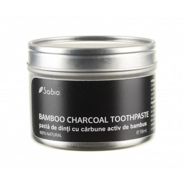 Pasta de dinti cu carbune activ din bambus (bamboo charcoal) SABIO COSMETICS - 118 ml