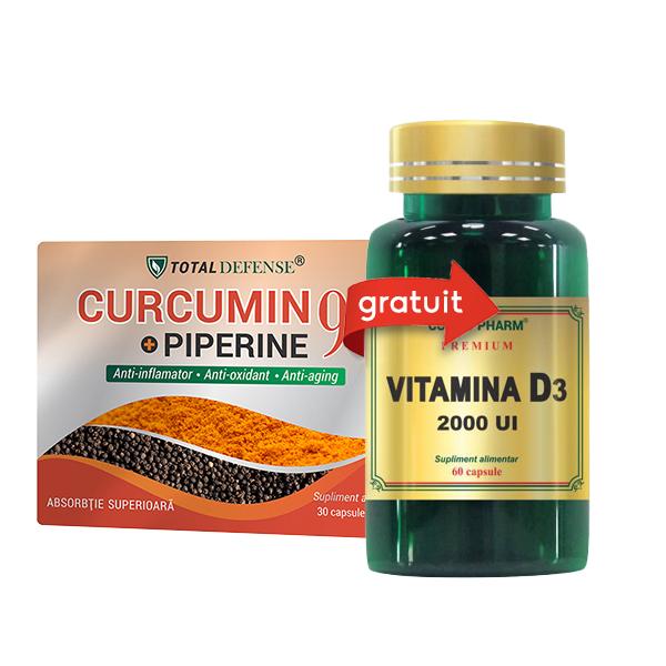 Pachet Curcumin + Piperine 95% - 30 cps + Vitamina D3 2000 UI - 30 cps (gratis) Cosmo Pharm