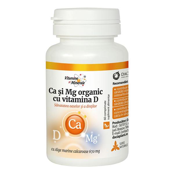 Ca si Mg organic cu vitamina D Dacia Plant - 60 comprimate