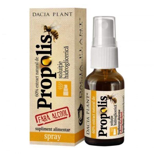 Propolis spray - solutie hidroglicerica (fara alcool) Dacia Plant - 20 ml