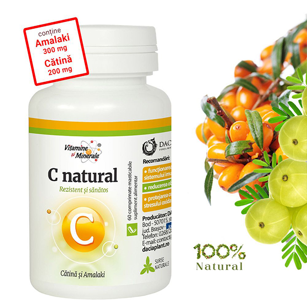 Vitamina C natural cu Catina si Amalaki Dacia Plant - 60 comprimate masticabile