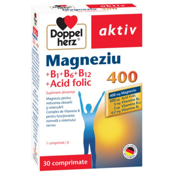 Aktiv Magneziu 400 + B1 + B6 + B12 + Acid folic Doppelherz - 30 capsule + 10 cadou