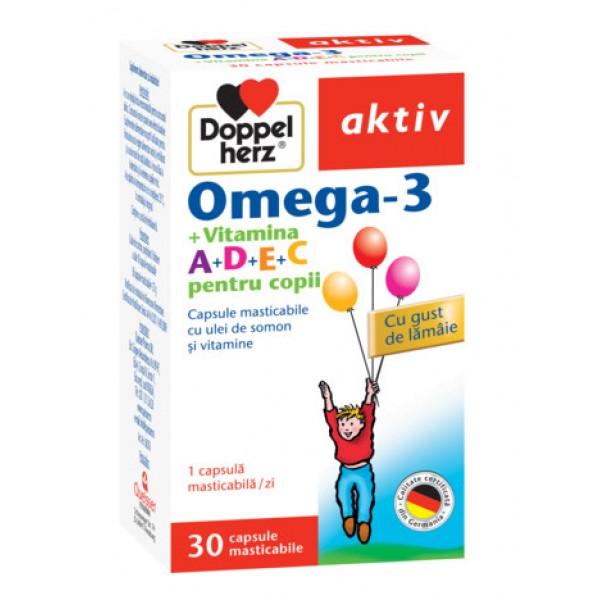 Aktiv Omega 3 + Vitamina A+D+E+C pentru copii Doppelherz - 30 capsule