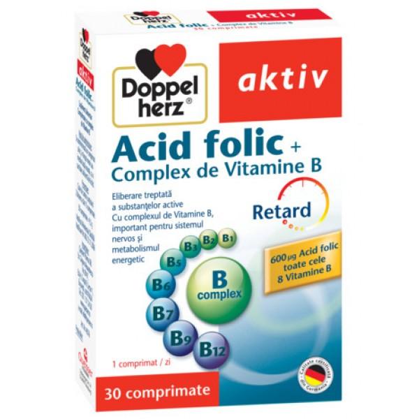 Aktiv Acid folic + Complex de Vitamina B Doppelherz - 30 capsule