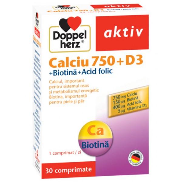 Aktiv Calciu 750 + D3 + Biotina + Acid folic Doppelherz - 30 capsule