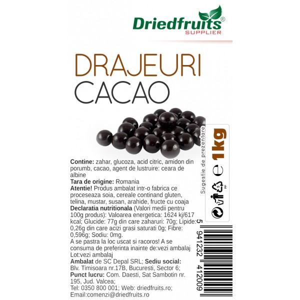 Drajeuri cacao Driedfruits - 1 kg