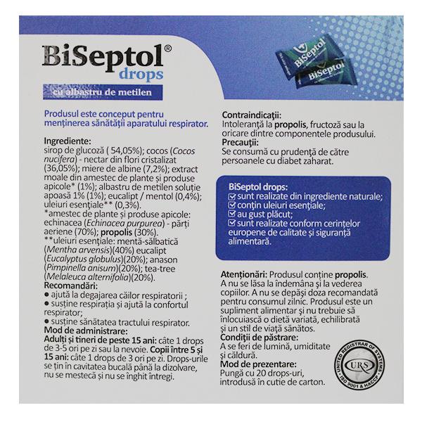 BiSeptol dropsuri cu albastru de metilen Dacia Plant (20 bucati) - 100 g