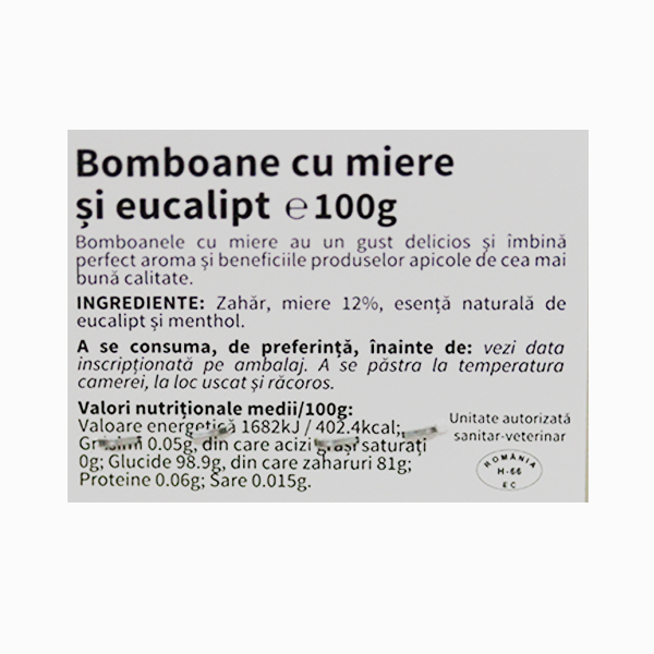 Bomboane cu miere si eucalipt Apiland - 100 g