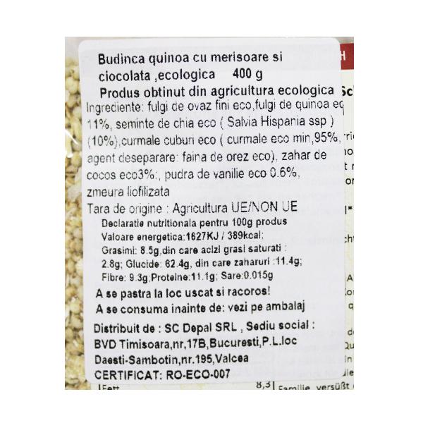 Budinca quinoa cu merisoare si ciocolata BIO - 400 g