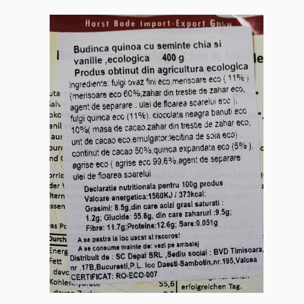 Budinca quinoa cu seminte chia si vanilie BIO - 400 g