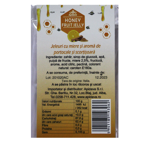 Jeleuri cu miere, portocale si scortisoara Apidava - 100 g