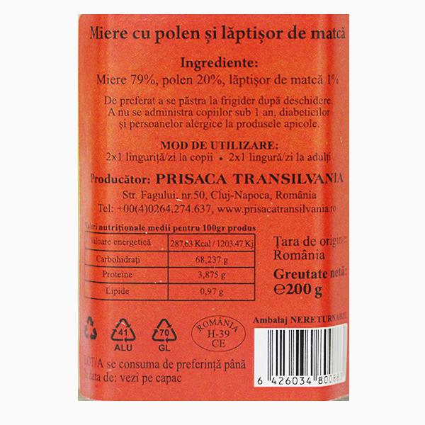 Miere, polen si laptisor de matca Prisaca Transilvania - 200 g