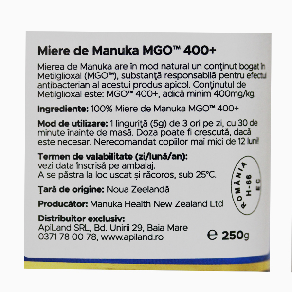 Miere Manuka MGO (400+) Manuka Health - 250 g