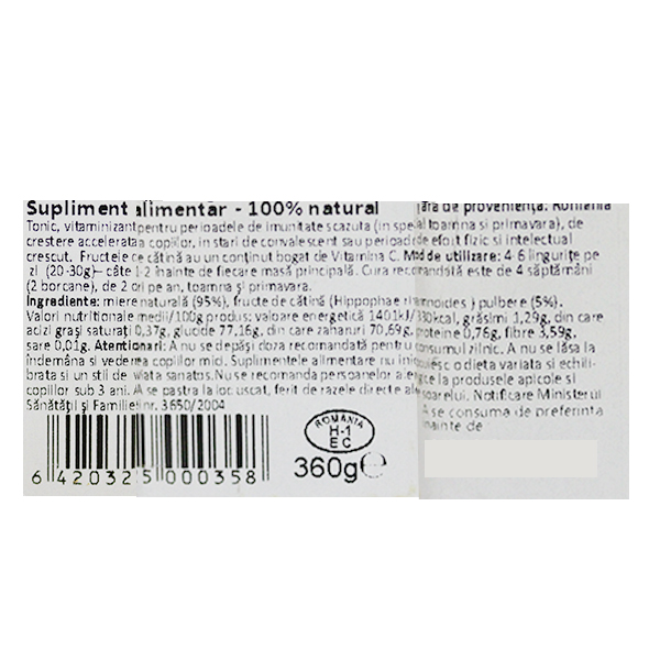 Miere cu pulbere de catina si fructe de padure Albina Carpatina - 360 g
