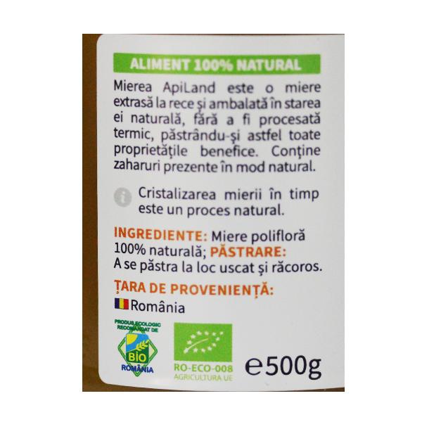 Miere poliflora cruda BIO Apiland - 500 g