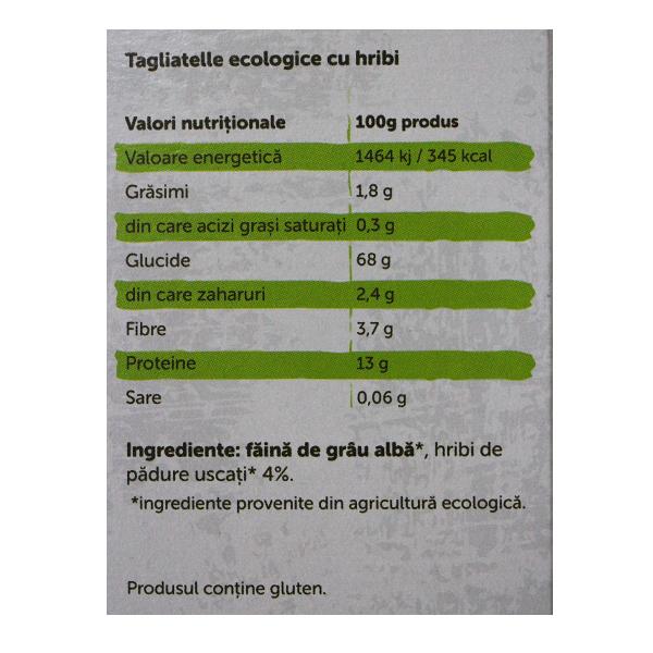 Paste tagliatelle cu hribi BIO Petras Bio - 250 g