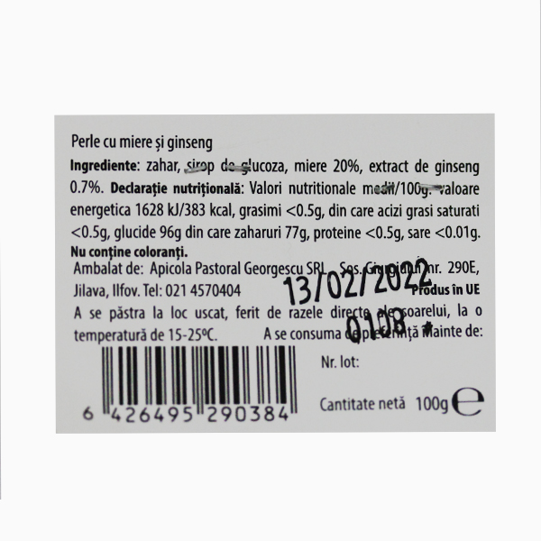 Perle cu miere si ginseng Albina Carpatina - 100 g