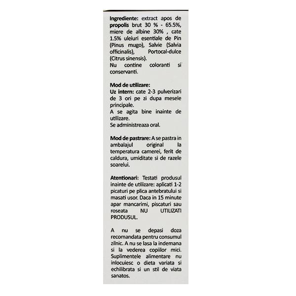 Spray de gat cu propolis, ulei pin, salvie si portocale (fara alcool) Albina Carpatina - 20 ml