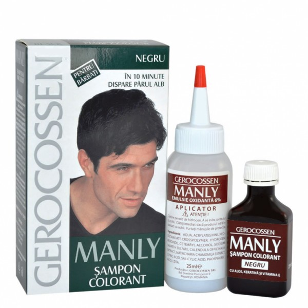 Sampon colorant barbati (Negru) Manly GEROCOSSEN - 25 ml