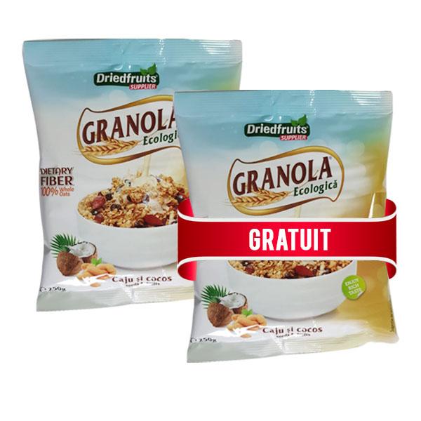 Granola cu caju si cocos (fara zahar) BIO - 250 g (Pachet 1+1 gratis)
