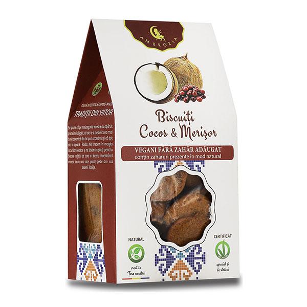 Biscuiti vegani cu cocos si merisoare (fara zahar) Ambrozia - 150 g