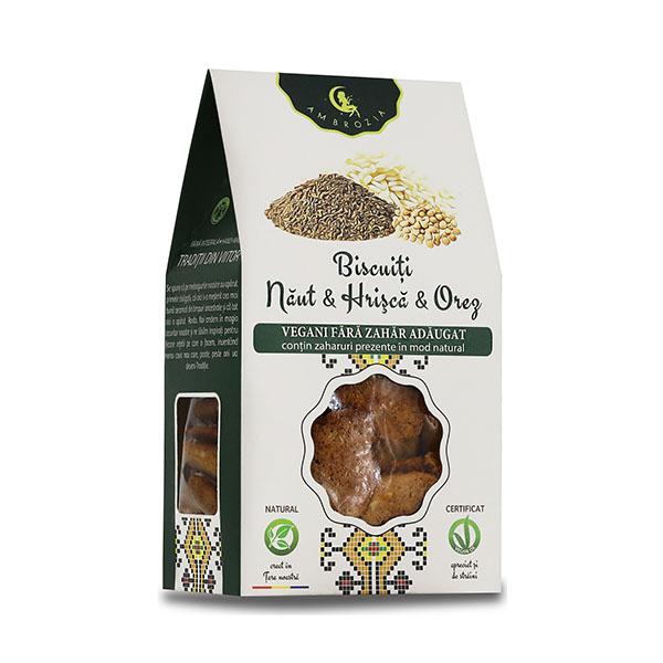Biscuiti vegani cu naut, hrisca si orez (fara zahar) Ambrozia - 150 g