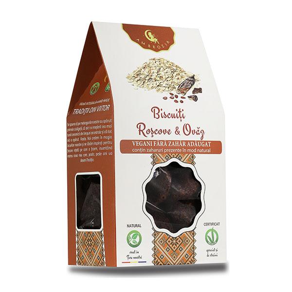 Biscuiti vegani cu roscove si ovaz (fara zahar) Ambrozia - 150 g