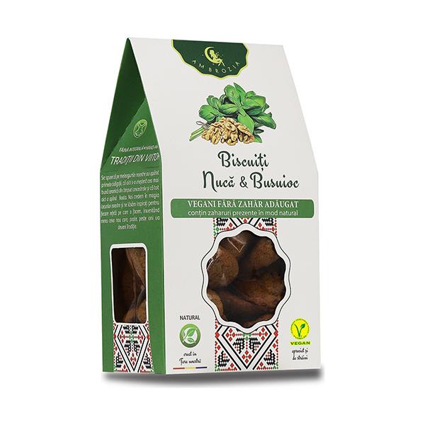 Biscuiti vegani cu nuca si busuioc (fara zahar) Ambrozia - 150 g