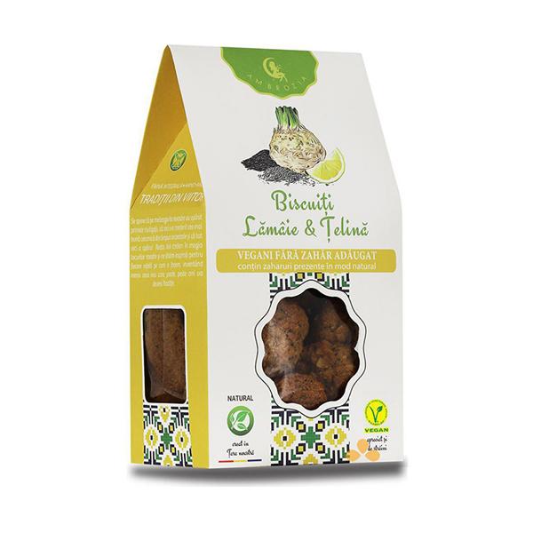 Biscuiti vegani cu telina si lamaie (fara zahar) Ambrozia - 150 g