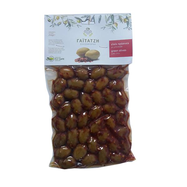 Masline verzi cu chili (in vid) - 250 g