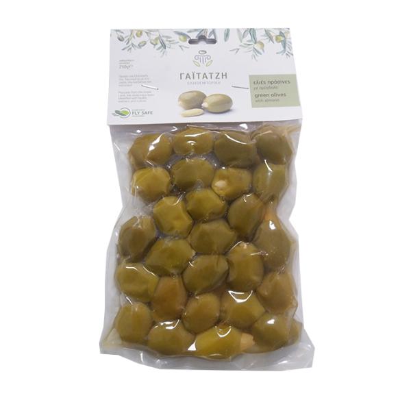 Masline verzi cu migdale (in vid) - 250 g
