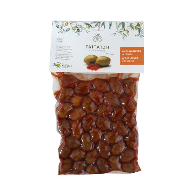 Masline verzi cu paprika (in vid) - 250 g