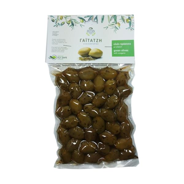 Masline verzi cu oregano (in vid) - 250 g