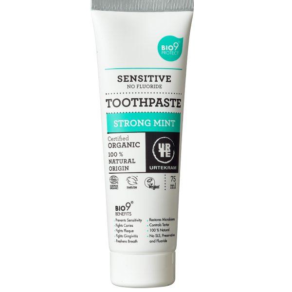 Pasta de dinti Strong Mint cu extract salcie pentru dinti sensibili BIO Urtekram - 75 ml