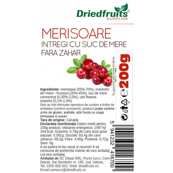 Merisoare cu suc de mere (fara zahar) - 200 g