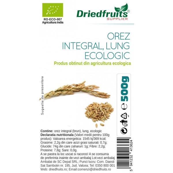 Orez integral lung BIO Agricultura UE Driedfruits - 500 g