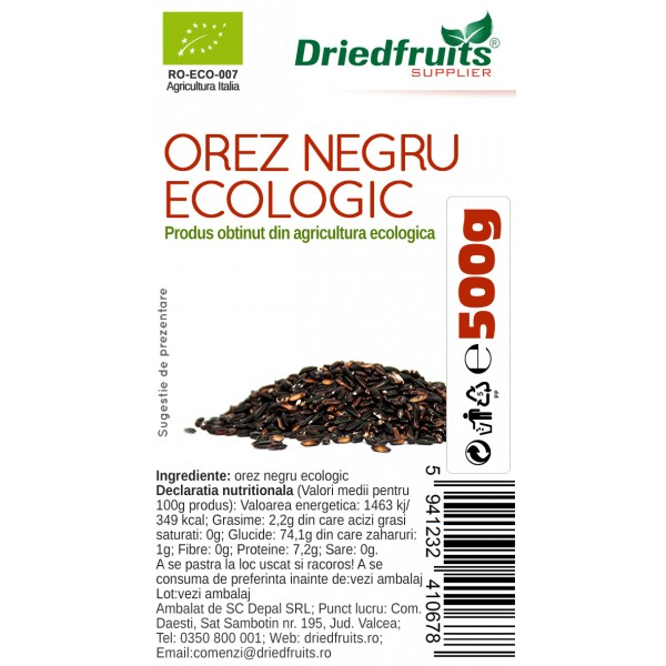 Orez negru BIO Driedfruits - 500 g